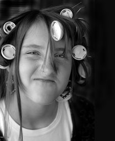 Free Teenager With Curlers Stock Photo - 3702030