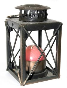 Free Old Lamp With Red Candle Royalty Free Stock Image - 3702546