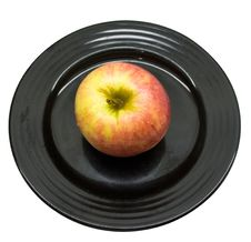 Free Fresh Apple On A Black Plate Stock Image - 3702631