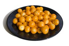 Free Fresh Cape Gooseberries On A Black Plate 2 Royalty Free Stock Images - 3702729