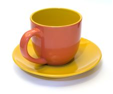 Free Glazed Pottery Coffee Cup And Saucer 1 Royalty Free Stock Photos - 3702858