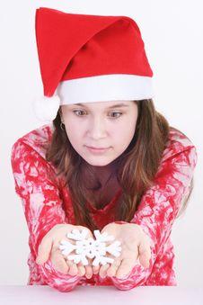 Free Santa Girl Holding Snowflake Royalty Free Stock Photo - 3705455