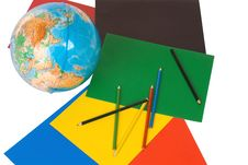 Free The Globe, Paper, Pencils Royalty Free Stock Images - 3705499