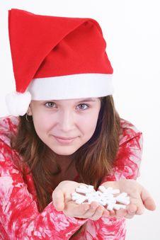 Free Santa Girl Holding Snowflake Royalty Free Stock Image - 3705576