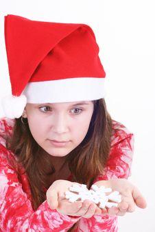 Free Santa Girl Holding Snowflake Stock Image - 3705641