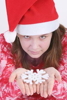 Free Santa Girl Holding Snowflake Stock Photo - 3705810