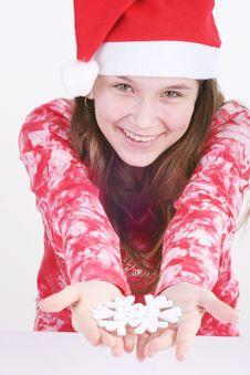 Free Santa Girl Holding Snowflake Royalty Free Stock Photography - 3706027