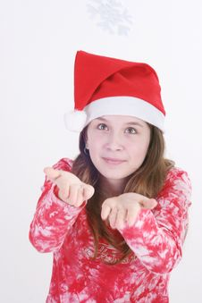 Free Santa Girl Holding Snowflake Royalty Free Stock Photos - 3706098