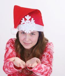 Free Santa Girl Holding Snowflake Royalty Free Stock Image - 3706176