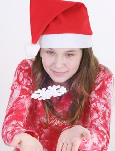 Santa Girl With Snowflake Royalty Free Stock Photography