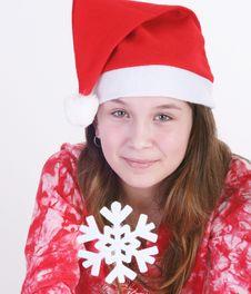 Free Santa Girl Holding Snowflake Stock Photography - 3706272