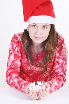 Free Santa Girl Holding Snowflake Royalty Free Stock Photos - 3706388