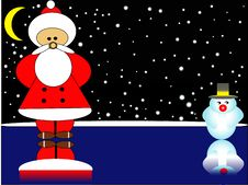 Free Santa Claus And The Snowman Royalty Free Stock Image - 3706506