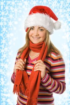 Free Christmas Girl In Red Hat And Scarf Stock Images - 3706594