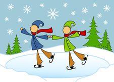 Free Homosexual / Gay Couple Skating Card Stock Photo - 3706640