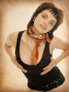 Old Photo Of Brunette Girl Stock Image