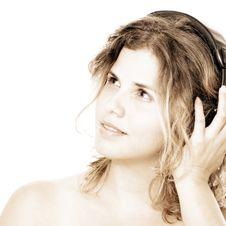Free Girl With Headphones Royalty Free Stock Image - 3707516