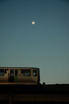 Free Moon Over Train Royalty Free Stock Image - 3709276