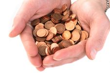 Free Hand Collecting  Cent Coins Royalty Free Stock Photography - 3710107