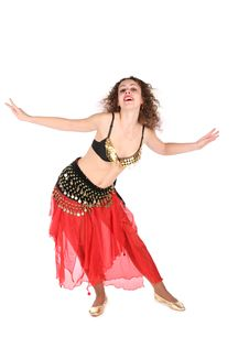 Red Belly Dance Woman Stock Images