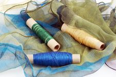 Free Green Blue Silk And Matching Threads Stock Images - 3710594