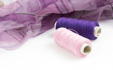 Free Purple Silk And Matching Threads Royalty Free Stock Photography - 3710717
