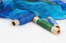 Free Blue Green H Silk And Matching Threads Stock Image - 3710811