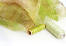 Free Greenish Silk And Matching Threads Stock Photography - 3710902