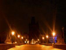 Free Charles Bridge In Deep Night Royalty Free Stock Photos - 3711048