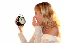 Free Young Blond Woman With Clock Stock Image - 3711281