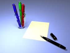 Free Close-up Of Fountain Pens With A Sheet Of Paper Royalty Free Stock Images - 3711809