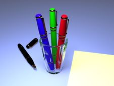 Free Fountain Pens With A Sheet Of Paper Stock Image - 3711831