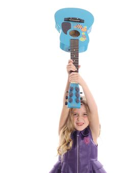 Rockstar Child Smashing Her Guitar Straight Royalty Free Stock Photography