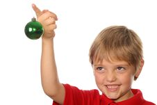 Free Cute Child Holding Christmas Ornament Royalty Free Stock Photo - 3714035