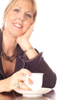 Free Woman Drinking Tea Fine China Upclose Stock Photography - 3714562