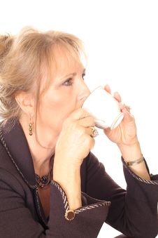 Woman Sipping Tea Fine China Royalty Free Stock Images
