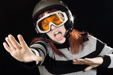 Free Girl Wearing A Ski Helmet And Googles Stock Images - 3715254