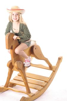 Free Little Girl On Rocking Horse Royalty Free Stock Image - 3716336