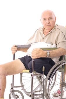 Free Eldery Man In Wheelchair Vertical Royalty Free Stock Image - 3716496