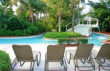 Free The Landscape And Swimming Pool In A Resort Royalty Free Stock Photography - 3717107