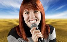 Free Joyful Girl Singing On The Karaoke Stock Images - 3719114