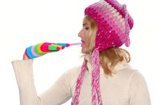 Free Blond Girl In A Pink Cap Royalty Free Stock Photography - 3719257