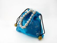 Blue Gift Bag With Pearl Royalty Free Stock Photography