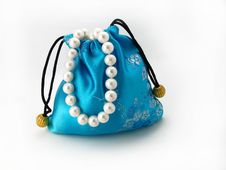 Blue Gift Bag With Pearl Stock Photography