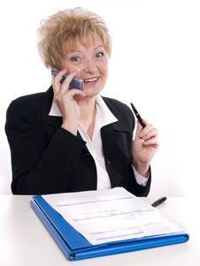 Free Businesswoman In The Black Suit Stock Image - 3719821