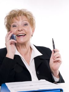 Free Satisfied Buisnesswoman With Phone Royalty Free Stock Photography - 3719827