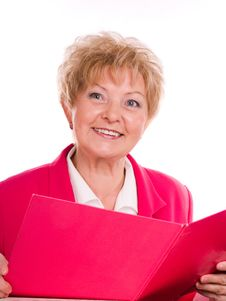 Free Buisinesswoman With Pink Folder Stock Images - 3719964