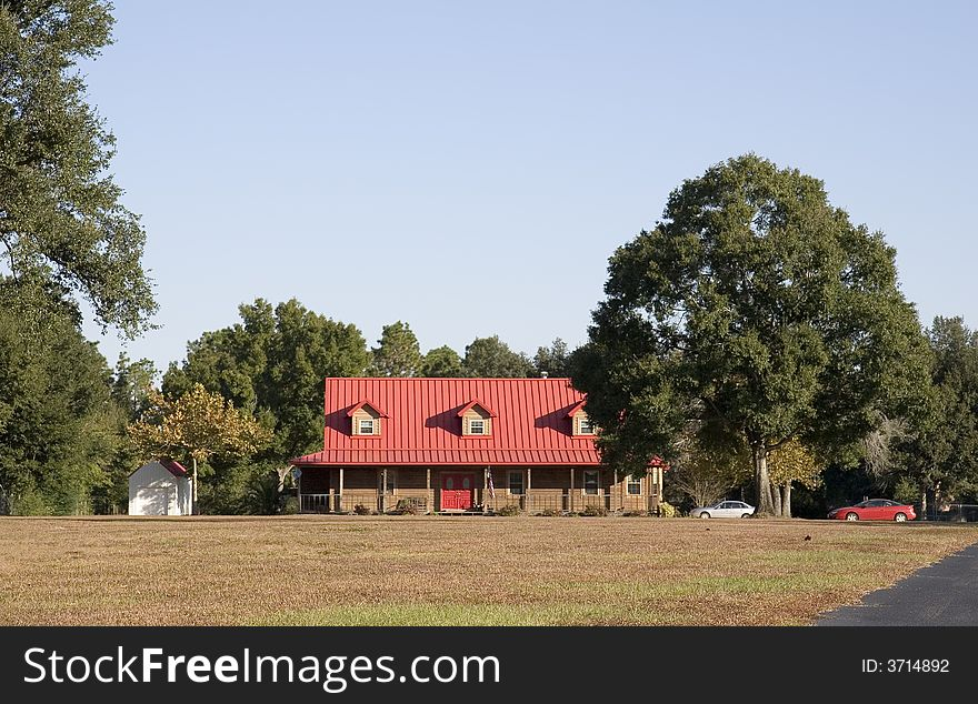 Farmhouse with Red Roof