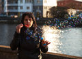Free Young Beautiful Woman Blows Bubbles Stock Images - 37182754