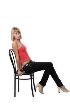 Free Young Woman Sitting On A Chair Stock Photography - 3720272